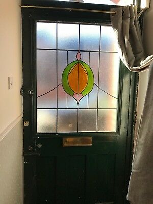 Large Green Victorian Stained Glass Front Door