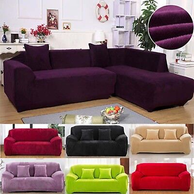 Plush Sectional Sofa Couch Covers 1 2 3 4 Seater Elastic Slipcover Solid  Thick