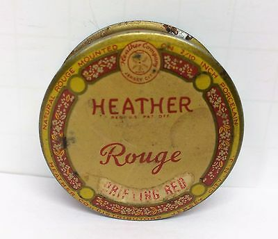 Vintage Heather Cake Cosmetic Rouge Tin Gloryifying Red Jersey City NJ USA