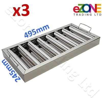 3x Canopy Grease Baffle Filter Stainless Steel Kitchen Extraction Hood 495x245mm