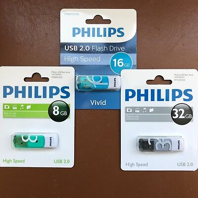 PHILIPS 8 GB 16 GB 32 GB Vivid HIGH SPEED USB Flash Drive Memory Stick Pen Drive