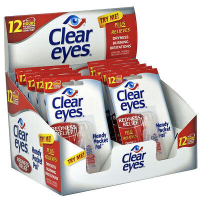 48 Pack of CLEAR EYES Drops REDNESS RELIEF 0.2oz 6 ml Upto 12 Hour - EXP 07/2020