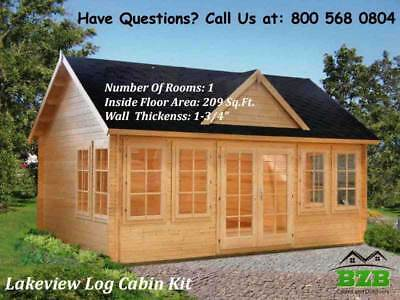 """BZB Log  Cabin Kit Lakeview: 17' x 12'6"""", Inside: 209/SQF, 1-3/4"""" Wall Thickness"""
