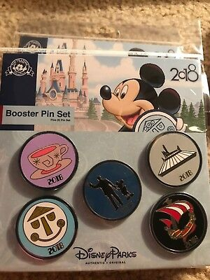 Disney Parks Icon Pins 2018 6 Pin Set Booster Pack Mad Teacup Walt Mickey NEW
