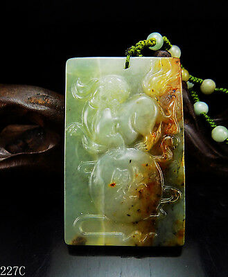 100% Natural Hand-carved Chinese Jade Pendant jadeite Necklace Qylin dragon 227c