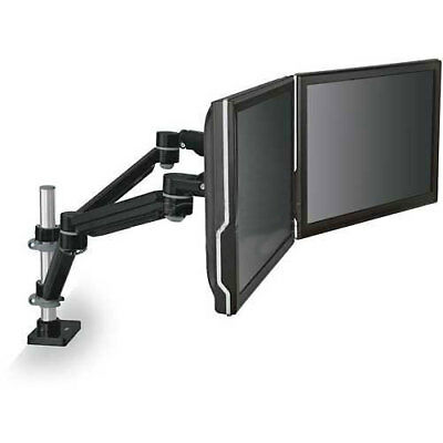 Dual Monitor Arm, Highly Adjustable, Black, Lot of 1