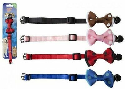 Cat Kitten Dog Puppy Polka Dot Bow Tie Collar Pet Small 4 Colours Safety Clasp