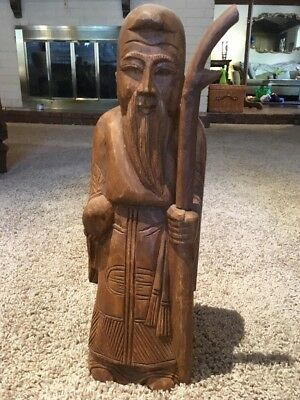 Antique Old Rare Wood Hand Carved Chinese Thai Pious Monk Saint Figure Statue