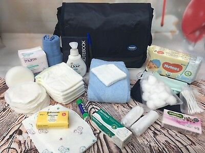 Large Pre Packaged Labour/hospital Bag,baby Shower, Blue  21 Items - Free Post
