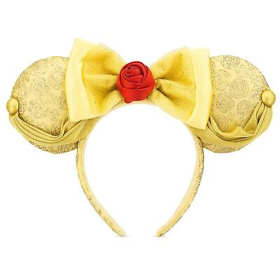 Disney Parks Belle Ear Headband Gold Satin, Ribbon, Glitter & Rose Minnie Mouse