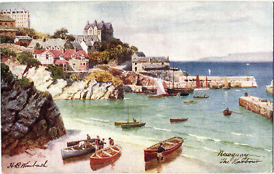 Newquay, The Harbour, Tuck Oilette postcard by Wimbush, posted 1913