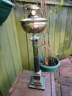 "Impressive 24"" Tall HINKS No. 1 Corinthian Column, Bowl & Burner For Oil Lamp"