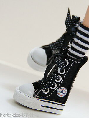 Custom Sneakers Shoes For Blythe/Pullip/Monster High/Lalaloopsy - SN211, Black
