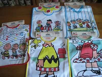 Snoopy / Peanuts Snap Neck Feeder Bibs Lot Of 5