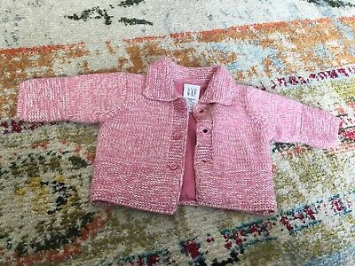 BABY GAP Newborn Pink Knit Button Up Sweater Preowned