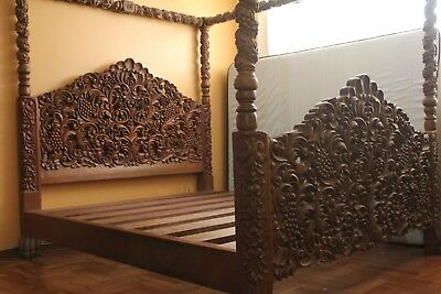 Unique Antique bed with canopy was built at the end of the 19th century.