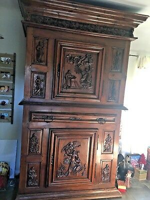 17th Century Louis XV French Provincial Armoire Tall. Hand carved