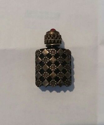 Antique sterling silver minature glass perfume bottle made in france