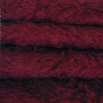 """1/6 yd 325S/C Cranberry INTERCAL 5/8"""" Semi-Sparse Curly German Mohair Fur Fabric"""