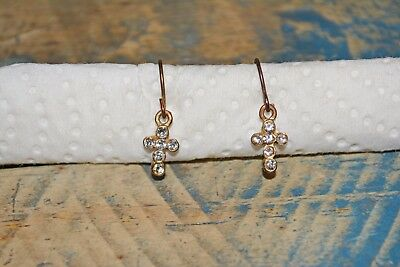 Antique Tiny Copper/Bronze And Diamond Hand-Made Cross Earrings!