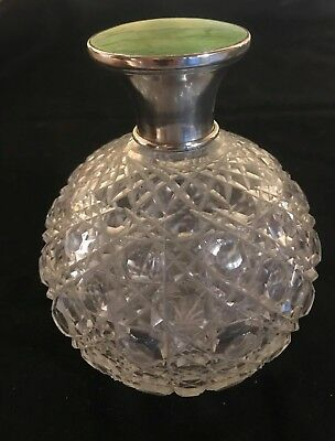 Antique Sterling Silver Cut Glass Crystal Guilloche Enamel Perfume Bottle Large