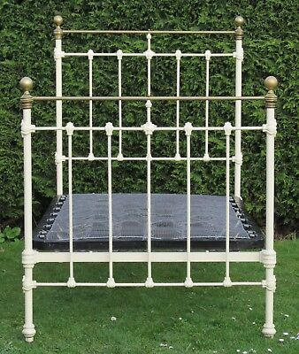 """Antique Brass and Iron Large Single ( 3ft 6"""" )  Bed with Original Spring Base"""