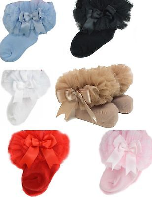 baby ankle sock with organza lace and tutu detail