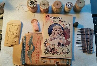1900'sThe National Toilet ( sewing) kit. Plus 5 Wooden Thread Spools ++