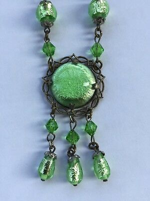 Vintage 1930's Art Deco Stunning Foil Glass Drop Necklace With Claw Set Cabochon