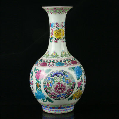 China Pastel Porcelain Hand Painted Vase Mark As The Qianlong R1080