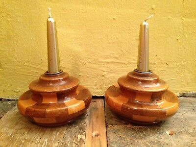 Set 2 pair retro 40's look wooden chequerboard handmade decorative candle sticks