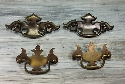 Mixed Lot of 4 Antique Heavy Brass Vintage Colonial Style Furniture Pulls