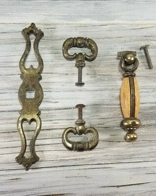 Mixed Lot of 4 Antique Heavy Brass Vintage Colonial Style Furniture Pulls Key