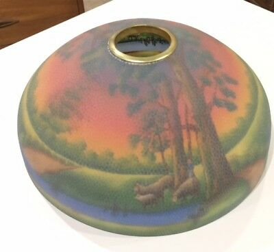 Antique Reverse Painted Glass Lamp Shade Jeanette Scenic Landscape Sheep No Base