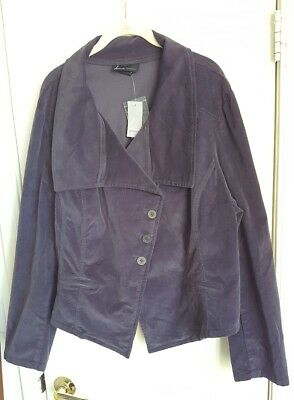 LANE BRYANT Gray Asymmetrical Buttons Corduroy Blazer Jacket Plus 26 26W $80 NEW