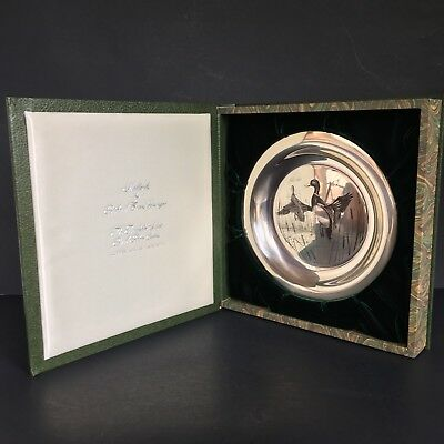 Franklin Mint MALLARDS Limited Edition Sterling Silver Bird Plate 1972 Younger