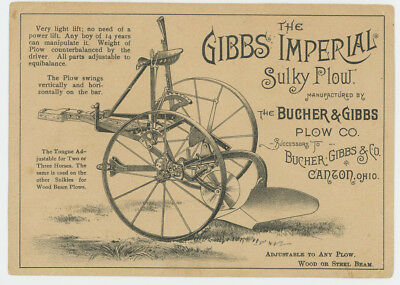 Gibbs Imperial Sulky Plow 1880's Trade Card