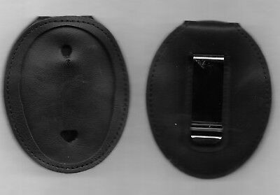 """LEATHER BADGE HOLDER w 30"""" Chain & Steel Belt Clip Oval L.A.P.D. Style NO BADGE"""