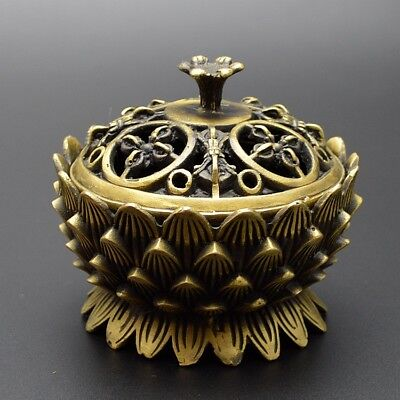 China Exquisite Old Handwork Bronze Sacrifice Lotus Incense Burners Jar