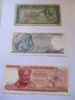 Vintage Mixed Lot Of World Wide Bank Paper Notes Circulated Currencies
