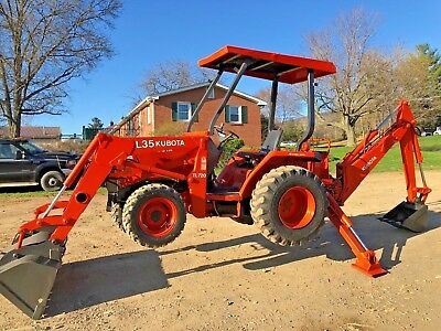Kubota 4X4 L35 Tractor Backhoe Loader 3 Point Hitch And 540 Pto Hydrostatic
