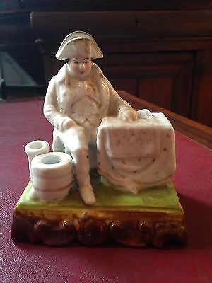 Rare Circa 1800 French Bisque Napoleon Inkwell Gilt Figurine Empire Regency