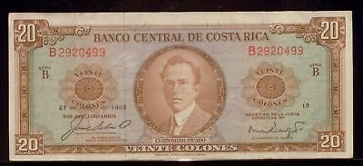 COSTA RICA 1968 20 Colones | VF+ | Banco Central | RC9258