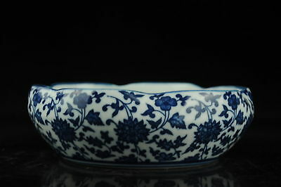 china old hand-made Blue and White porcelain flower pattern pen wash