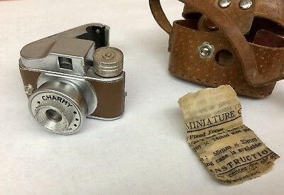 1949 Vintage RARE Charmy SubMini Spy Camera Made Japan Leather Case Instructions