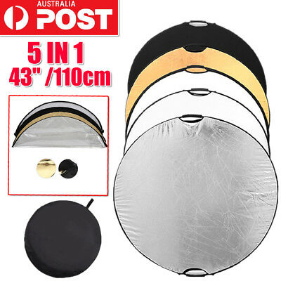 110CM 5 IN 1 Photography Photo Light Mulit Collapsible Disc Reflector Handle AU