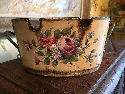 Antique French Yellow Oval Tole Jardiniere Cache Pot Planter C1860 Hand Painted