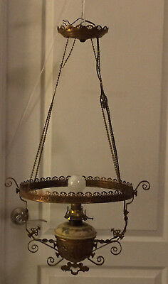 Antique Victorian Hanging Parlor Ceiling Lamp Scovill Mfg Wick Knob & Queen Ann