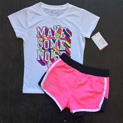 """Girl's Size 4 Under Armour """"make Some Noise"""" Shirt & Pink Shorts Outfit Nwt"""