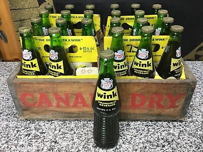 Vintage 1960s FULL Unopened WINK Canada Dry Advertising 12oz Glass Soda Bottle